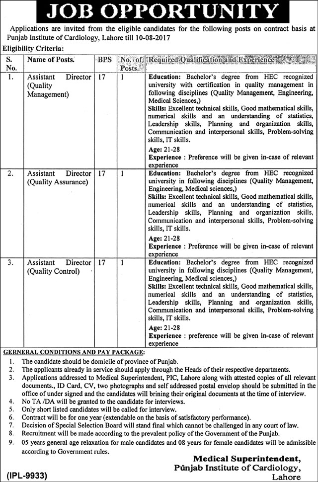 Punjab Institute of Cardiology Lahore Jobs August 2017