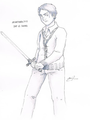inktober 2017 day 6 harry potter Neville Longbottom Gryffindor sword