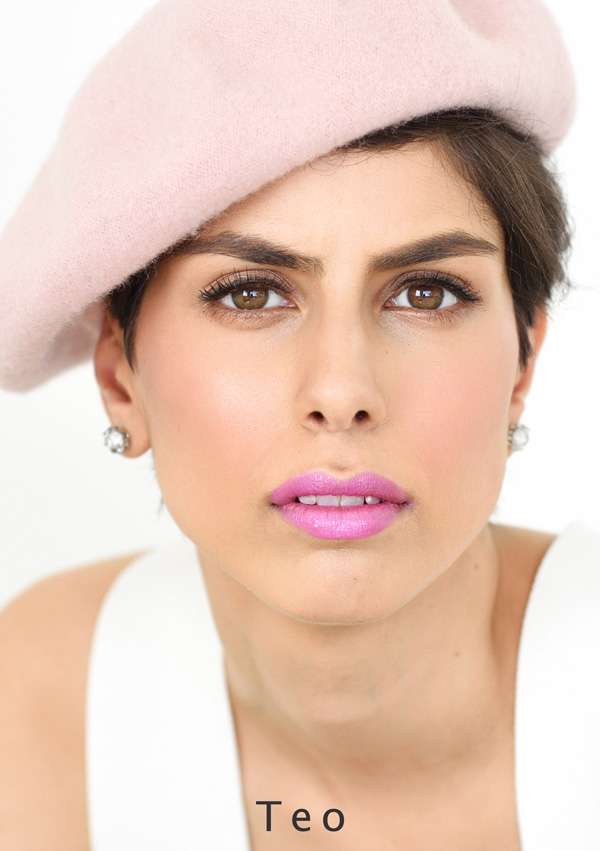Beautiful tight headshot in pastel colours for a modelling comp card. Photographed in Sydney by Kent Johnson