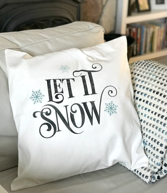 Winter themed DIY stenciled pillow covers