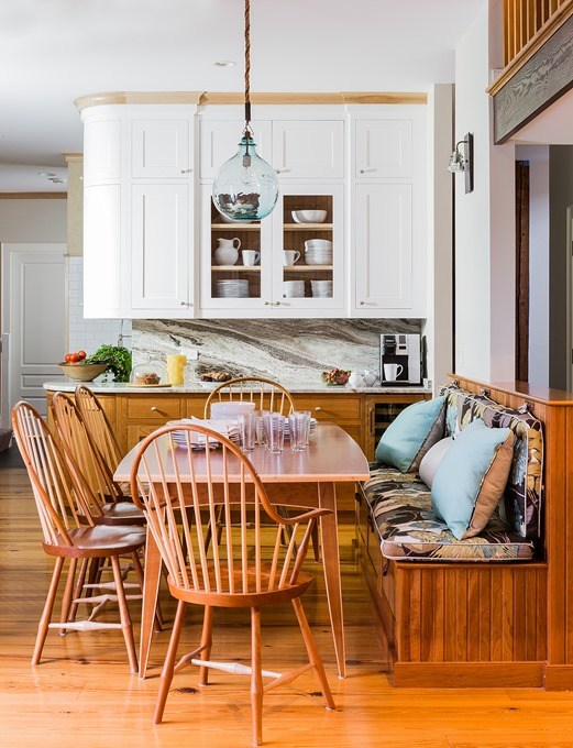 Modern farmhouse country kitchen and breakfast area with windsor chairs found on Hello Lovely