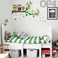 vinilo decorativo infantil buhos rama dormitorio decoracion dormitorio habitacion bebe pared