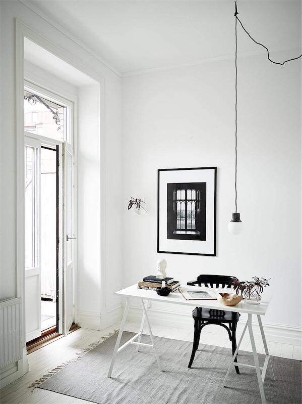 interior en blanco