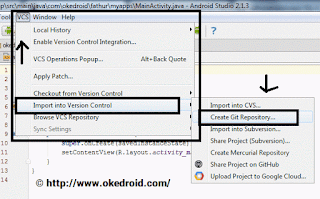 VCS  > pilih Import into Version Control > pilih Create Git Repository .