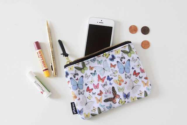 watercolor butterflies, Anne Butera, My Giant Strawberry, Surface Pattern Design, Society6, zipper pouch, carry all pouch