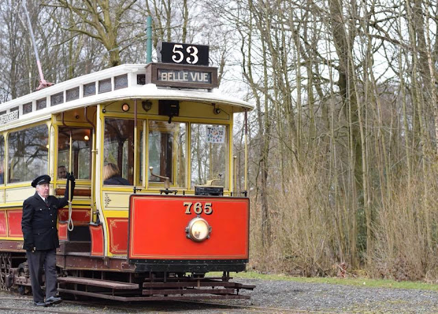 Manchester 765  - a 1914 Manchester 'California' type tram - restored and running through Heaton Park