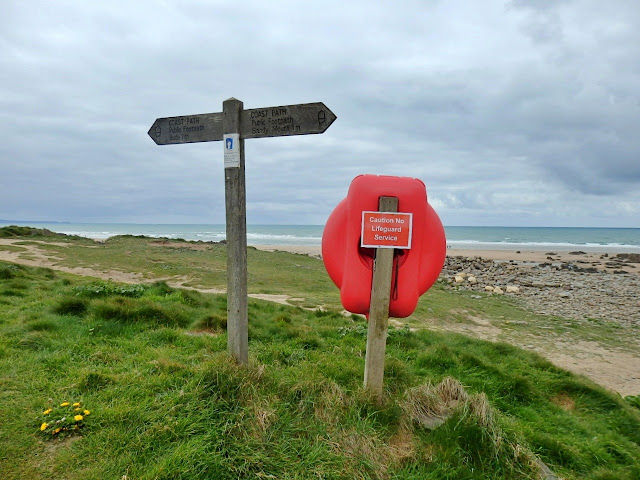 Coast Path signs at Northcott Mouth Cornwall