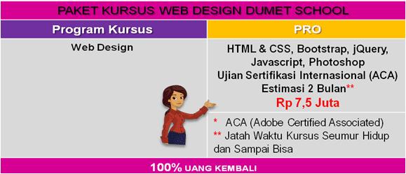 Biaya Kursus Web Design Jakarta Depok DUMET