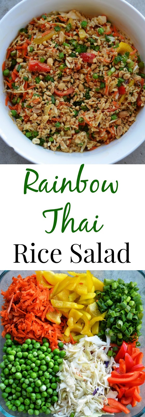 This Rainbow Thai Rice Salad has a homemade Thai peanut dressing and the salad is packed full of vegetables, brown rice and topped with crunchy peanuts!