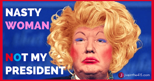 Photograph of President Donald Trump as a drag queen (blonde wig, foundation, makeup, false eyelashes)