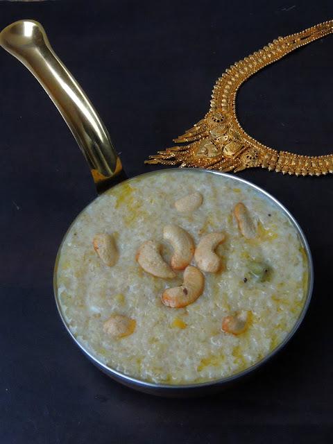 Quinoa Sweet Pongal, Quinoa Moongdal Sakkarai pongal