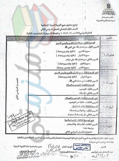 توزيع منهج الدين الاسلامي للصف الأول الإبتدائي 2017