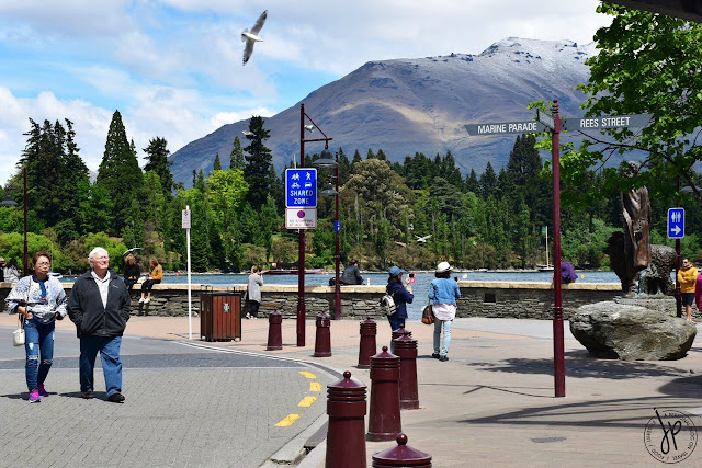 lake, bird, snow-capped mountain, people walking