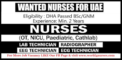 WANTED NURSES FOR UAE