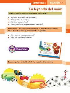 Apoyo Primaria Español 2do grado Bloque 2 lección 17 La leyenda del maíz