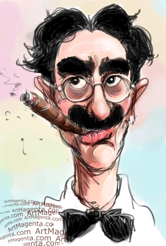 Groucho Marx caricature cartoon. Portrait drawing by caricaturist Artmagenta