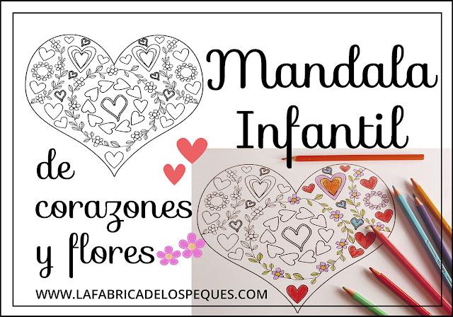 Mandala infantil corazones flores