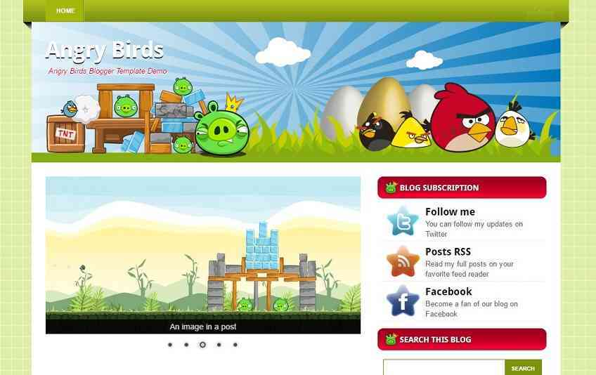 Angry birds - Anime blogger template -game blog