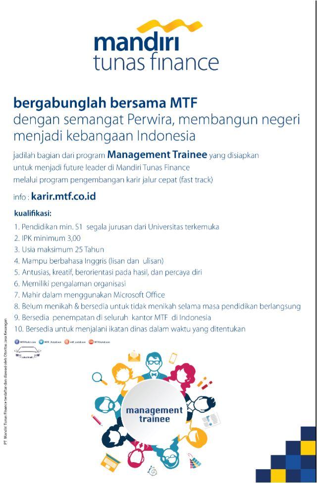 Lowongan Kerja PT Mandiri Tunas Finance Minimal S1 Semua Jurusan