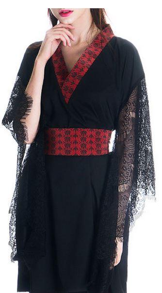 black vintage silk kimono