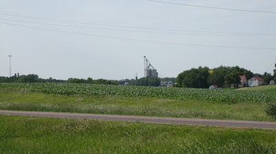 grain bins and soybean field