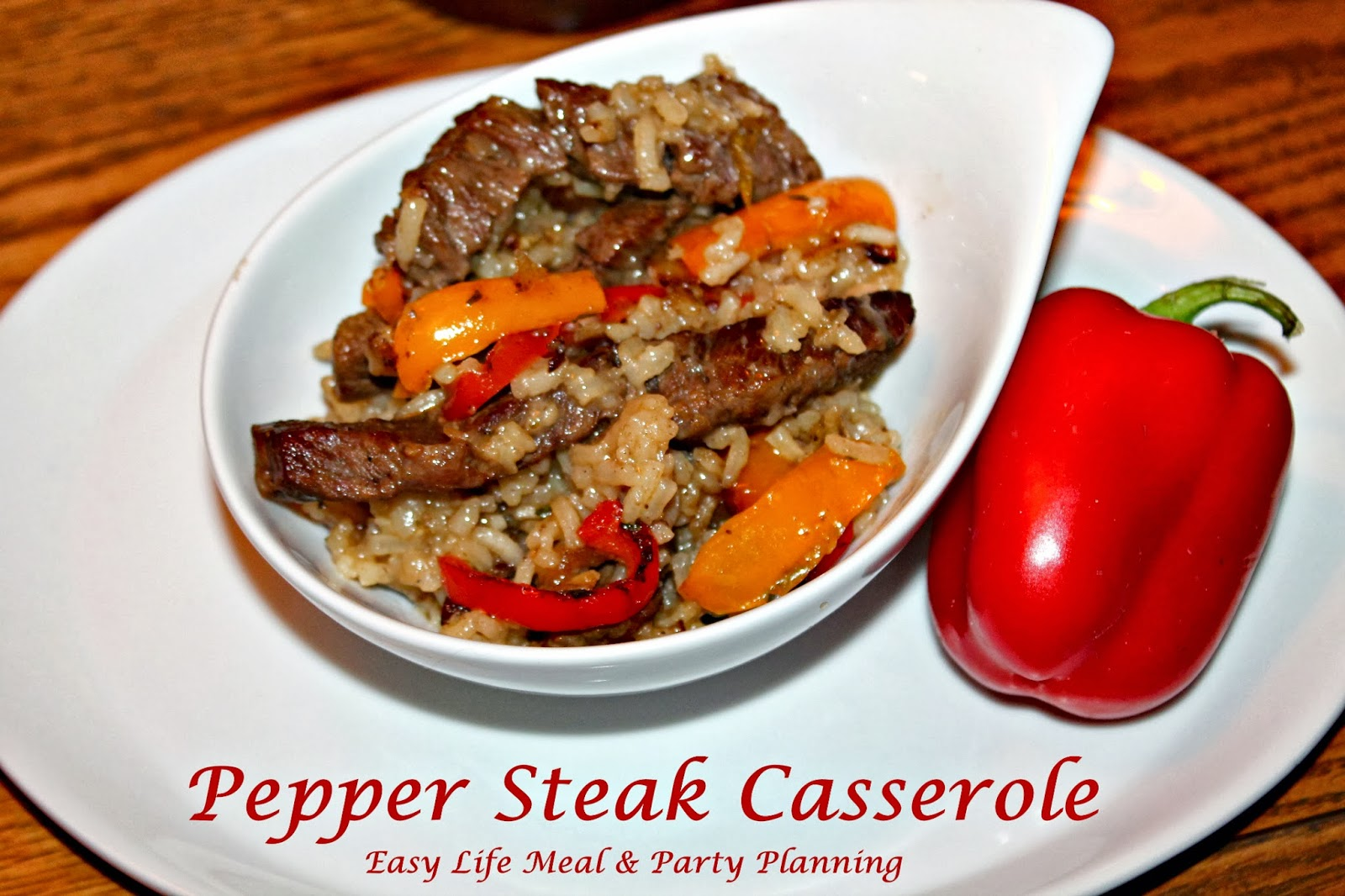 Pepper Steak Casserole - Easy Life Meal & Party Planning - a easy and savory casserole filled with rice, onions, peppers & beef