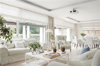 sala blanca decorada con plantas