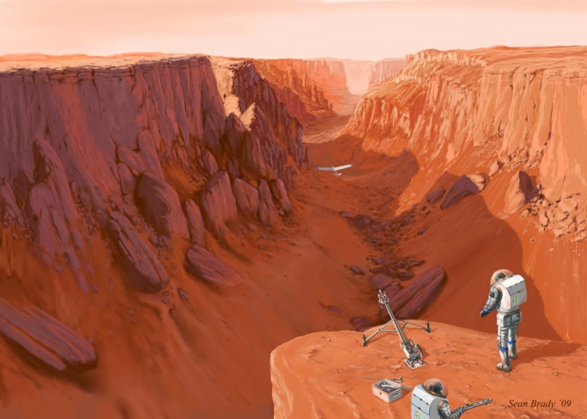 Astronauts exploring Valles Marineris by Sean Brady
