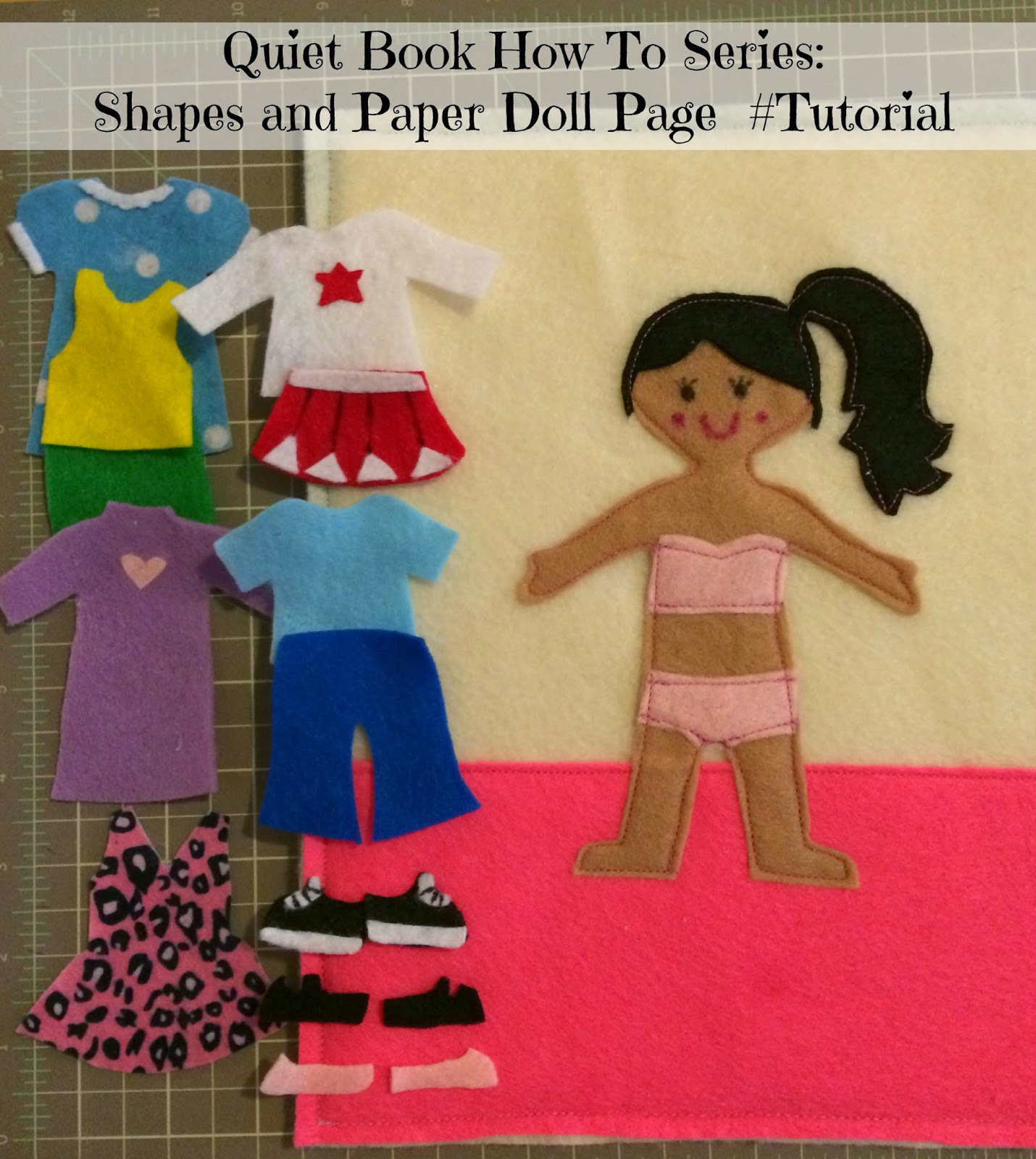 felt dress up doll template - quiet book how to series shapes and paper doll page
