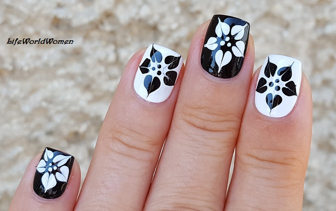 Life World Women Black White Marble Flower Nail Art Using Needle