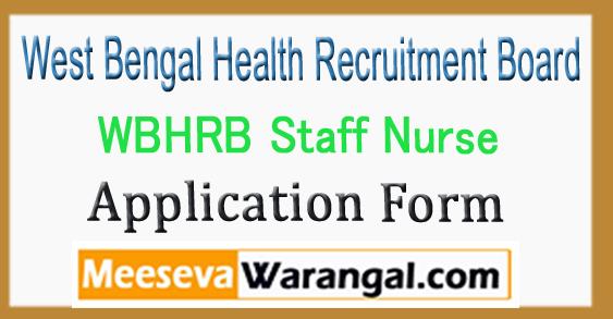 WBHRB Staff Nurse Application Form Apply Online 2018