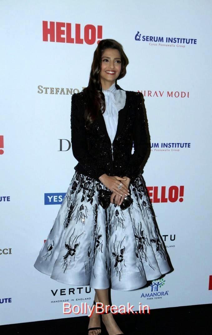 Sonam Kapoor images, Sonam Kapoor Hot Pics in Black & White Skirt from Hall Of Fame Awards 2014