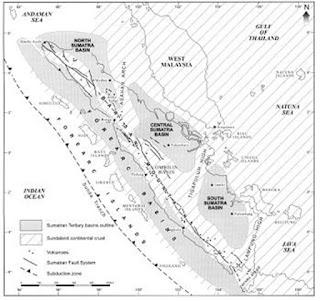 Pembagian cekungan geologi Pulau Sumatra