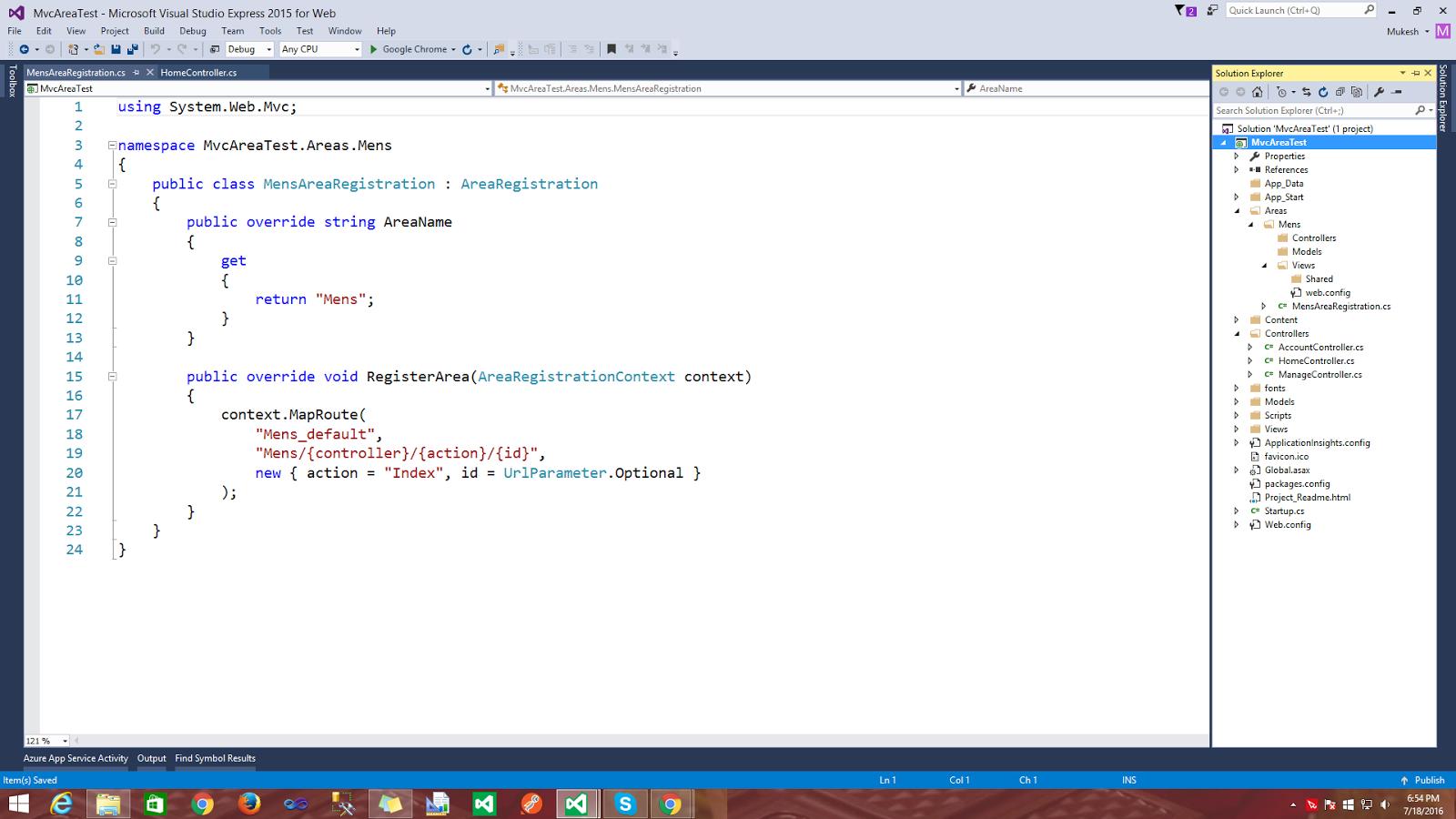 How to use Area in MVC ? ~ ASP NET,MVC,Azure,ANGULAR,WEB API