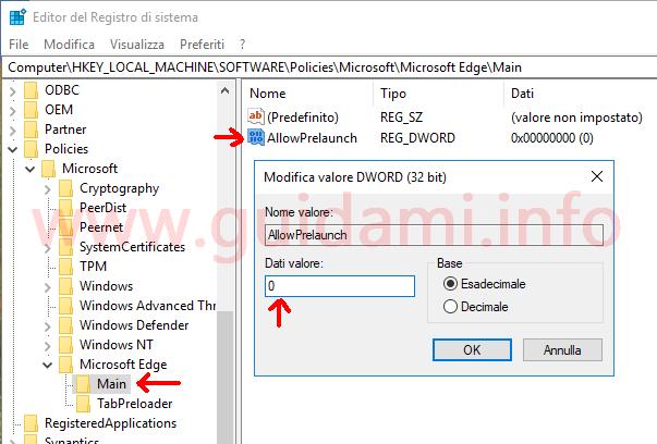 Editor del Registro di sistema valore per disattivare precaricamento avvio Microsoft Edge