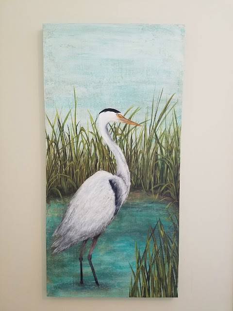 blue heron painting original
