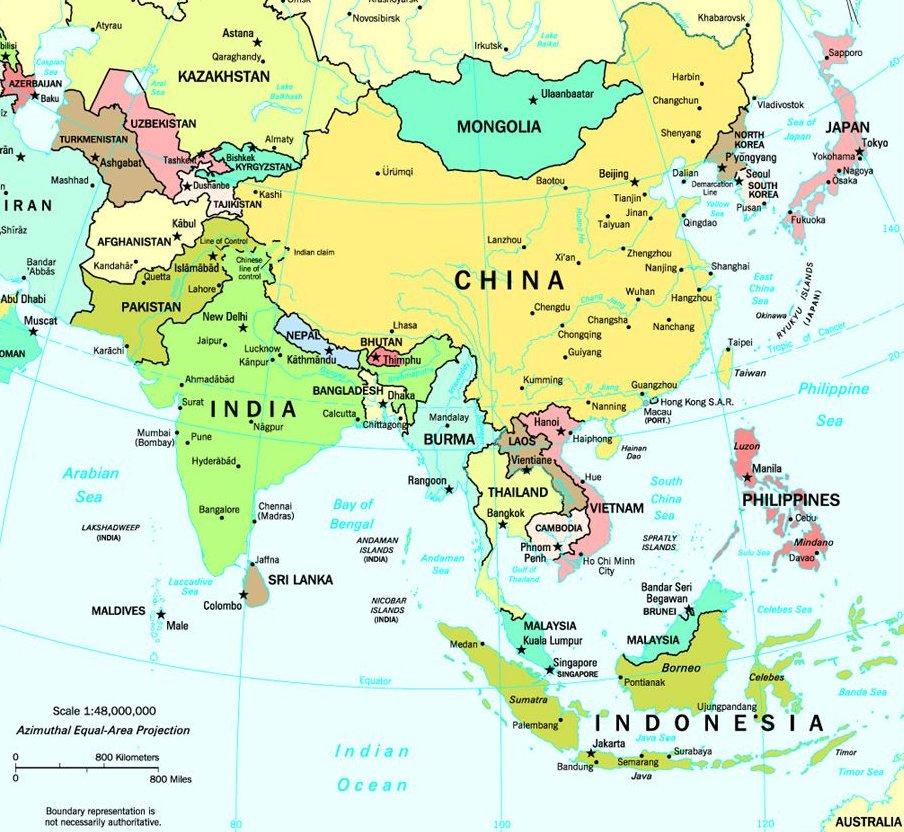 Carte Region Asie.Carte De L Asie Region Province