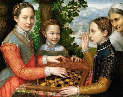 The Chess Game,O jogo de xadrez; pintura de Sofonisba Anguissola.