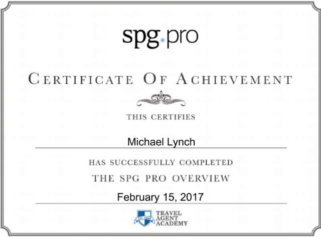 SPG Pro Certificate, Travel Agent Academy