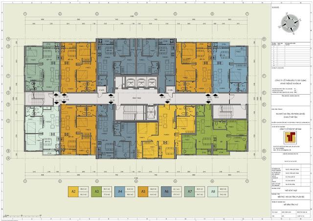 Mặt bằng tầng căn hộ 14 - 27 Hồng Hà Tower