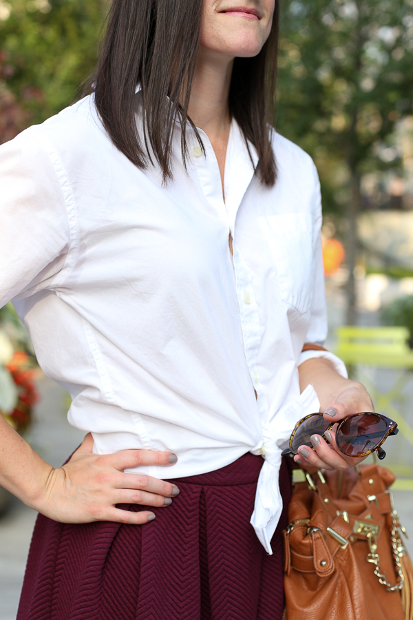 Burgundy-midi-skirt-for-fall-white-buttondown-shirt