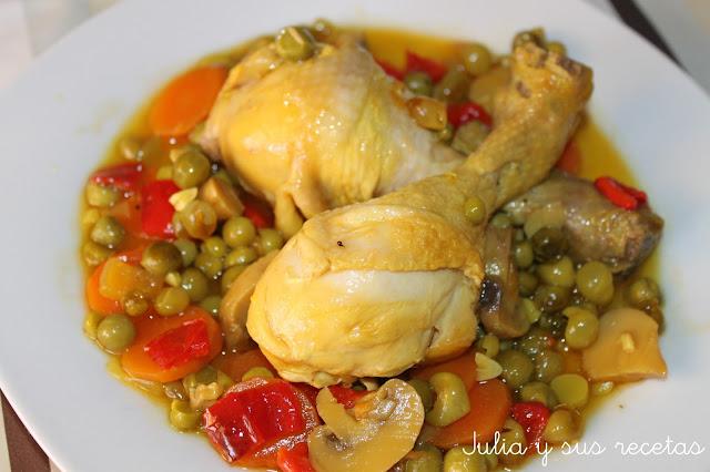 Pollo a la jardinera. Julia y sus recetas
