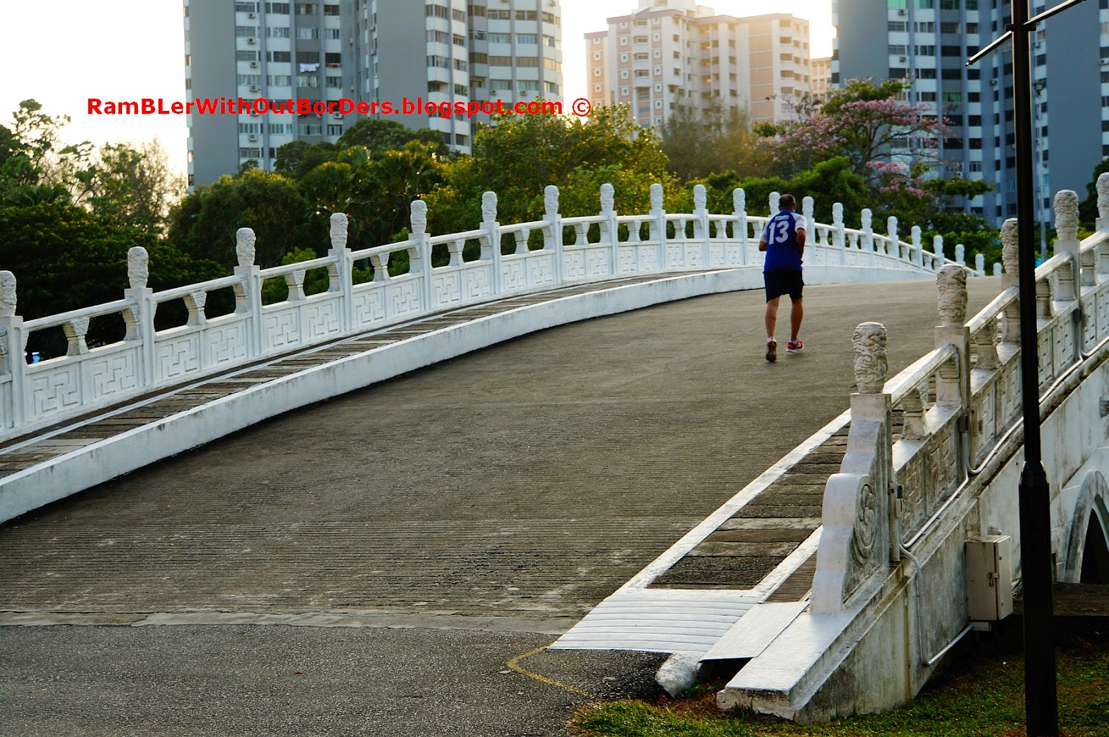 Jogger on Rainbow Bridge, Chinese Garden, Singapore
