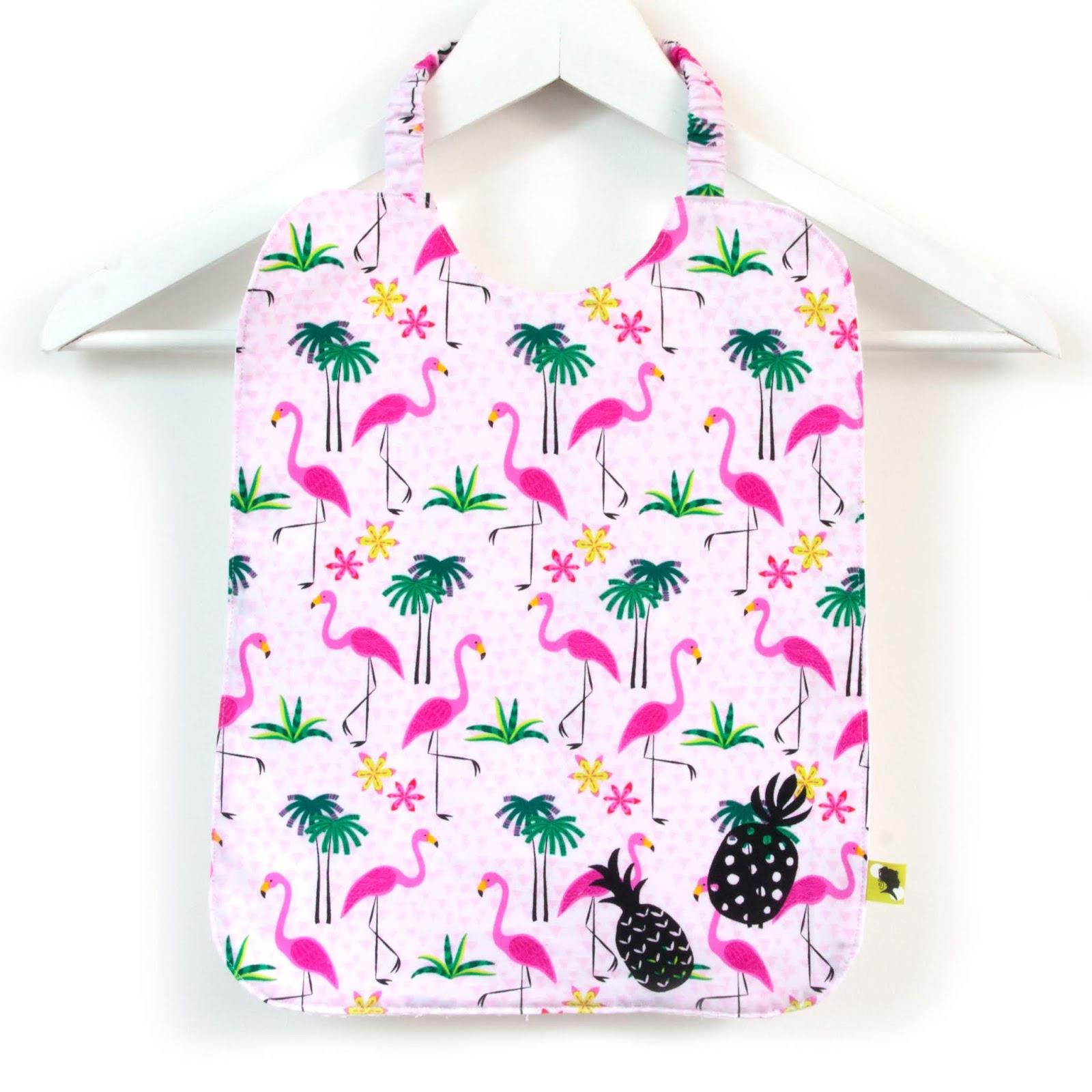 Serviette de table cantine, fait main, spéciale maternelle, à élastique, tissu flamants roses, motif ananas, doublée, de 8 mois à 5-6 ans