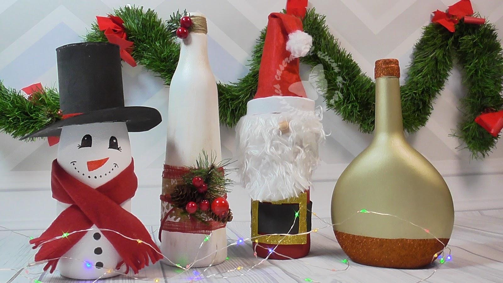 El rinc n de las manualidades caseras botellas de cristal recicladas y decoradas de navidad - Botellas decoradas manualidades ...