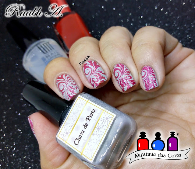 Unhas Carimbadas, Semana do Branco, Raabh A. 2018, DRK Nails Chuva de Prata, DRK Nails XL Designer 1, Carimbada vermelha, La Femme Vermelho, UNT Ready for Take Off, nail art, white