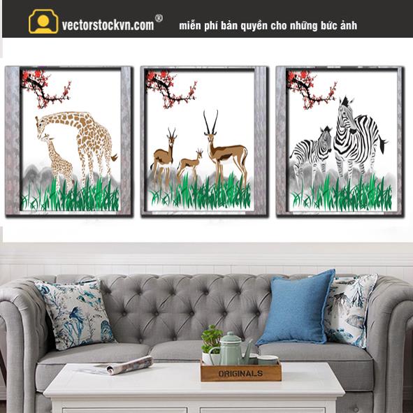 Tranh Động Vật Hươu - Ngựa vằn