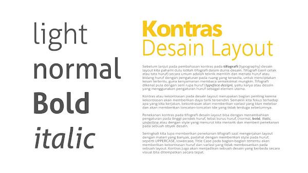 Kontras pada Tipografi | Desain Layout