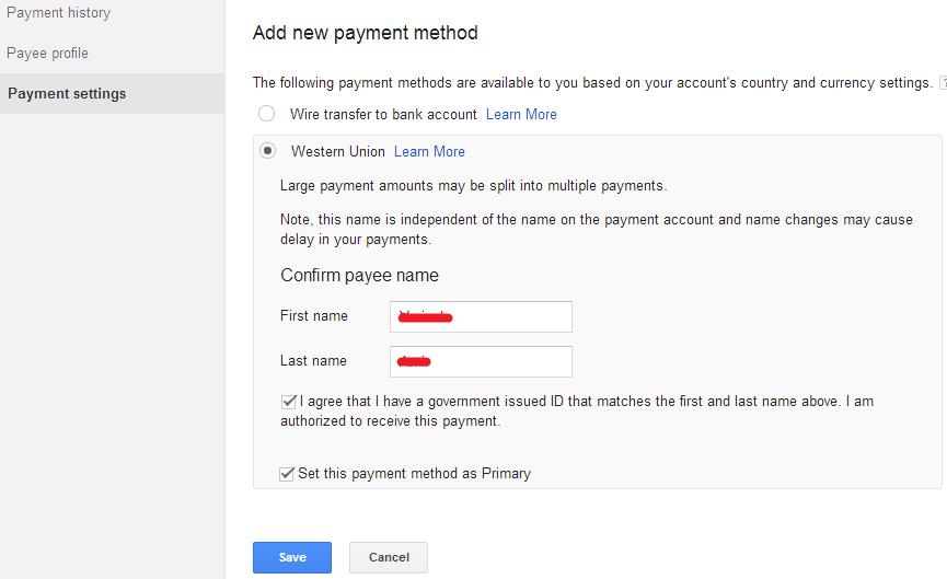 ara Mengubah Settingan Pembayaran Google AdSense Melalui Western Union 5