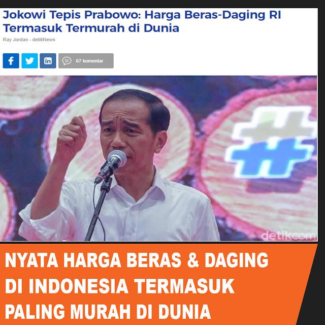 Jokowi Tepis Prabowo: Harga Beras - Daging RI Termasuk Termurah di Dunia